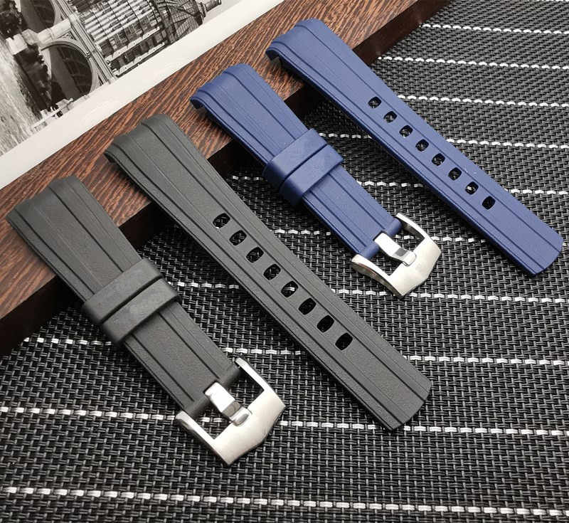 Brand quality 22mm soft Rubber Silicone Watch band Buckle Grind Arenaceous Belt Special for Omega strap  Seamaster 300 logos