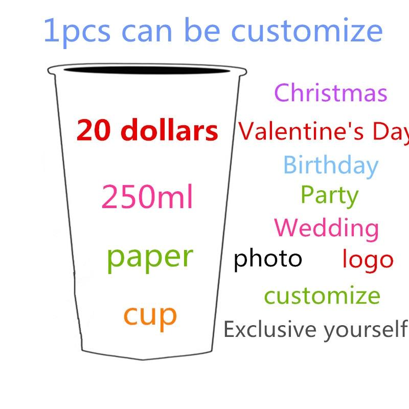 250ml 1 pièces peut être personnaliser papier tasse sous 1000 pièces frais d'impression 20 dollars vous photo logo d'anniversaire de fête de mariage papier tasse