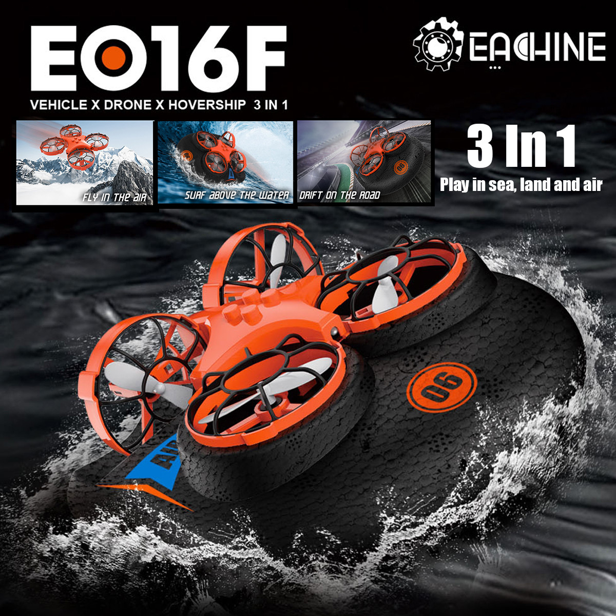 Eachine E016F 3-en-1 EPP avion volant bateau terre Mode de conduite détachable RC Drone quadrirotor pour enfant cadeau 1