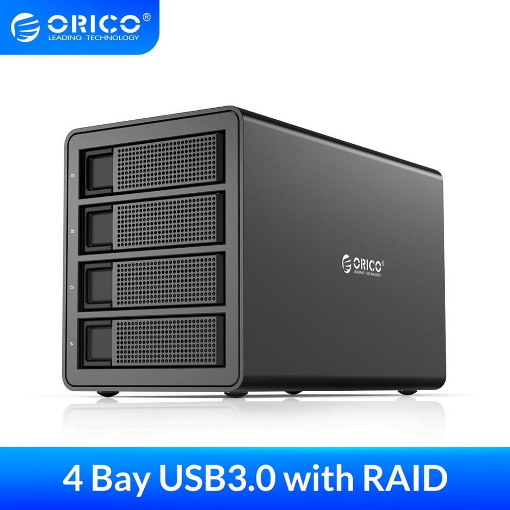 ORICO 3.5'' USB3.0 to SATA HDD Docking Station With <font><b>RAID</b></font> Aluminum 4 bay HDD <font><b>Enclosure</b></font> 150W Internal Power Adapter HDD Case image