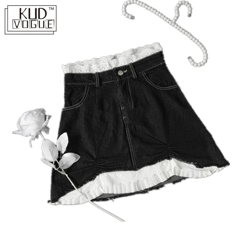 High-waisted Lace Washing Gothic Jeans Skirt Black White Pattern Denim Mini Pencil Skirt Irregular A-line Patchwork Streetwear