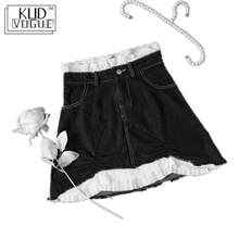 High-waisted Lace Washing Gothic Jeans Skirt Black White Pattern Denim Mini Pencil Skirt Irregular A-line Patchwork Streetwear(China)