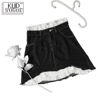 High-waisted Lace Washing Gothic Jeans Skirt Black White Pattern Denim Mini Pencil Skirt Irregular A-line Patchwork Streetwear high waisted metal embellished chiffon skirt