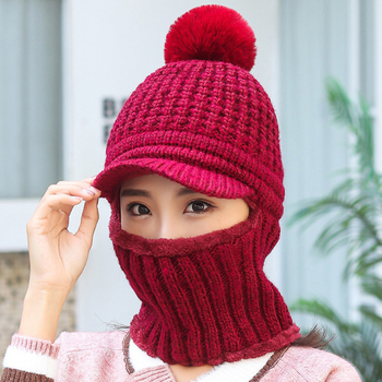 HT2911 Thick Warm Winter Hat Scarf Fleece Lined Knitted Hat With Scarf Windproof Snow Ski Earflap Cap Lady Winter Accessory Set