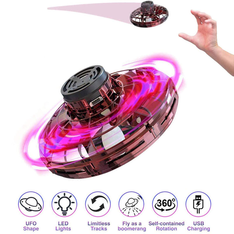 Mini Drone UFO Flying Spinner Helicopter  Hand Operated Induction  Fingertip  Flight Gyro Drone Aircraft Toy Adult Kids Gift