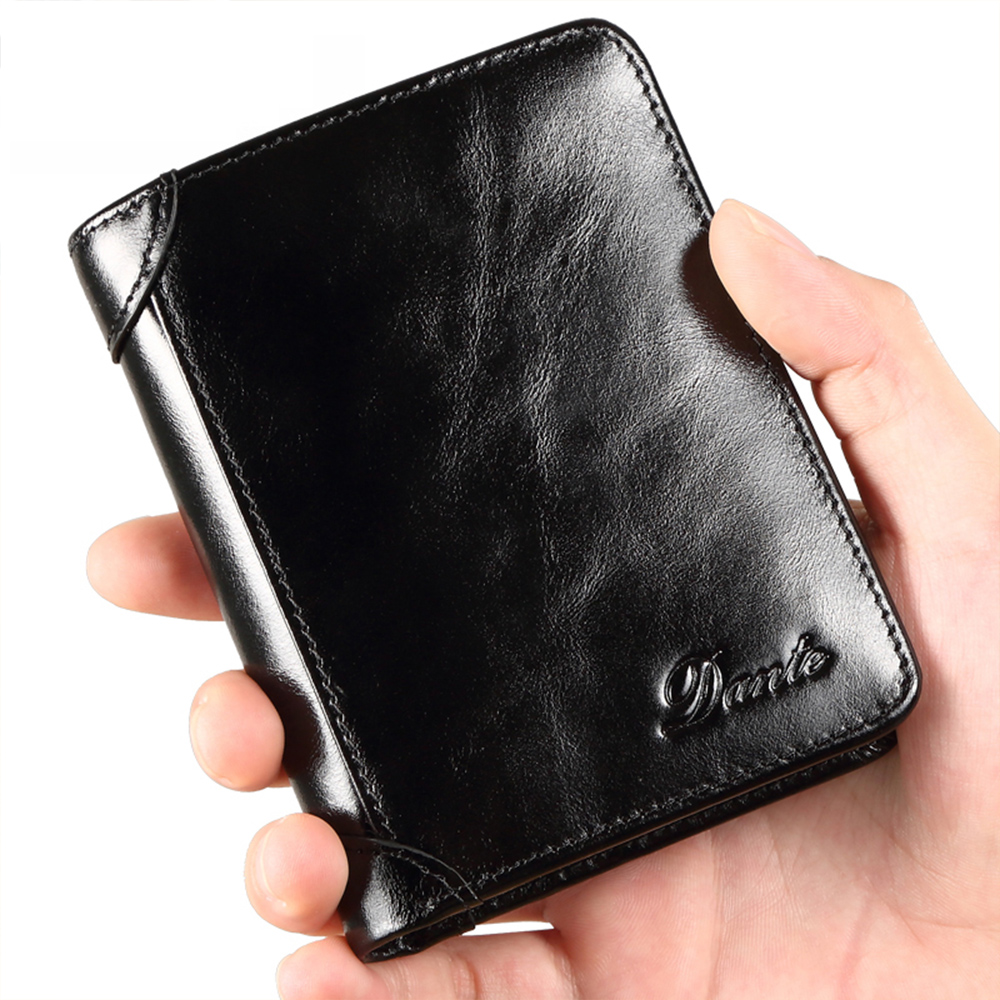 men's leather wallet RFID anti-theft brush head layer cowhide retro casual vertical multi-function small money bag money clips