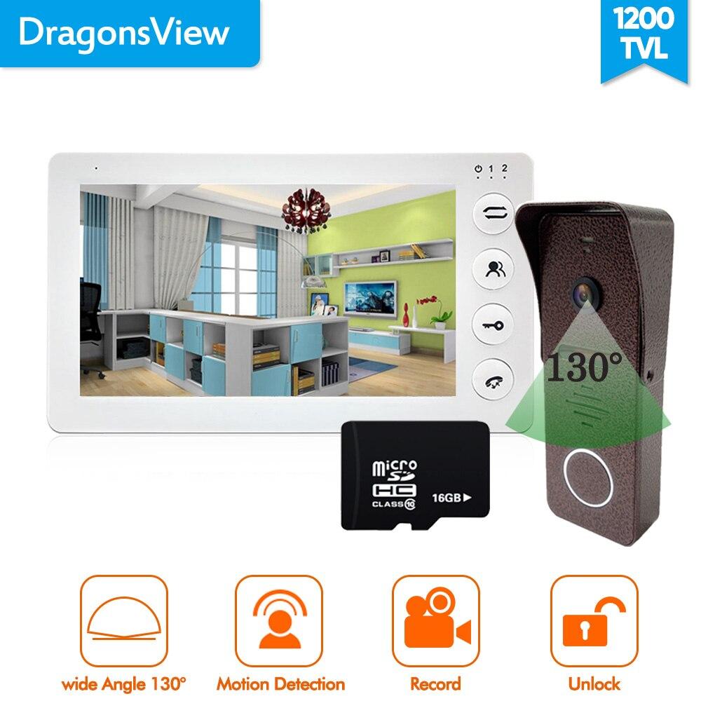 Dragonsview 7 pulgadas Video de la puerta de intercomunicador timbre teléfono con cable Visual vista Cámara lente de 2,3 MM HD ancho ángulo Registro de día y noche de corte IR