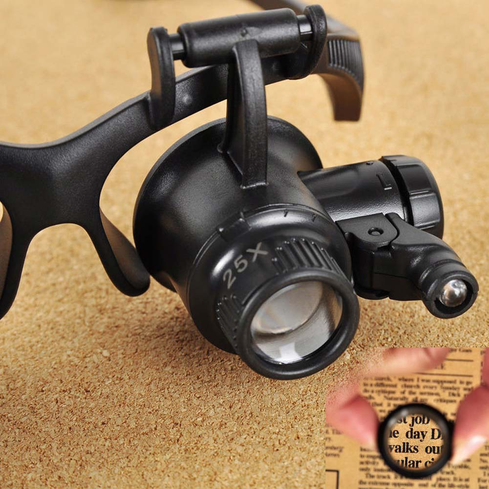 LED Magnifier Double Eye Glasses Loupe Lens Jeweler Watch Repair 10-25X