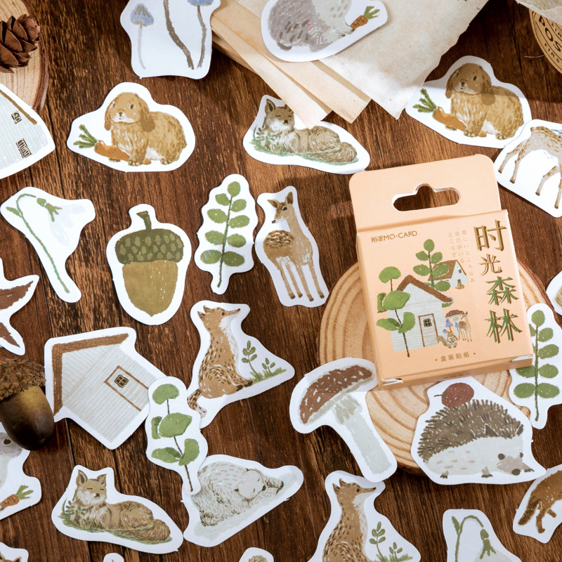 46 pcs/box Time Forest Decorative Stationery Stickers set Animal plant Scrapbooking DIY Diary Album