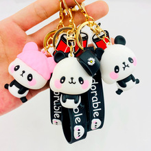 Cute silicone cartoon Panda keychain Silicone Key chains Women 3D Animal Keyrings For Car ornaments accessories wholesale