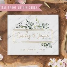 Персонализированный Чехол под мрамор Свадебная Гостевая книга, стилизованный подарок на свадьбу, с цветочным принтом на заказ любой языков...