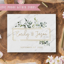 Personalizado mármore capa de casamento livro de hóspedes alternativo guestbook floral flor personalizado qualquer línguas álbum de fotos caligrafia
