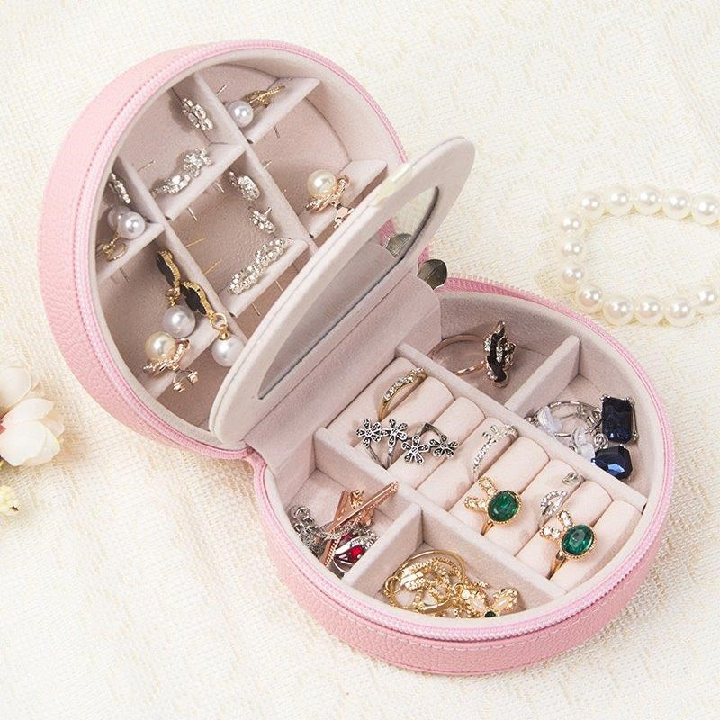 Boîte en cuir Mini boucles d'oreilles anneaux organisateur maquillage organisateur décoration de la maison boîte-cadeau