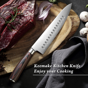 """Image 3 - KEEMAKE Professional 8.5 """"요리사 칼 독일 1.4116 강철 칼 부엌 칼 색깔 나무 손잡이 예리한 고기 절단기 요리사 칼"""
