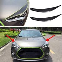 Car Headlight Cover Eyebrows Car Head Light Cover Sticker Frame Car Carbon Fiber Protector for Veloster 2011 2016