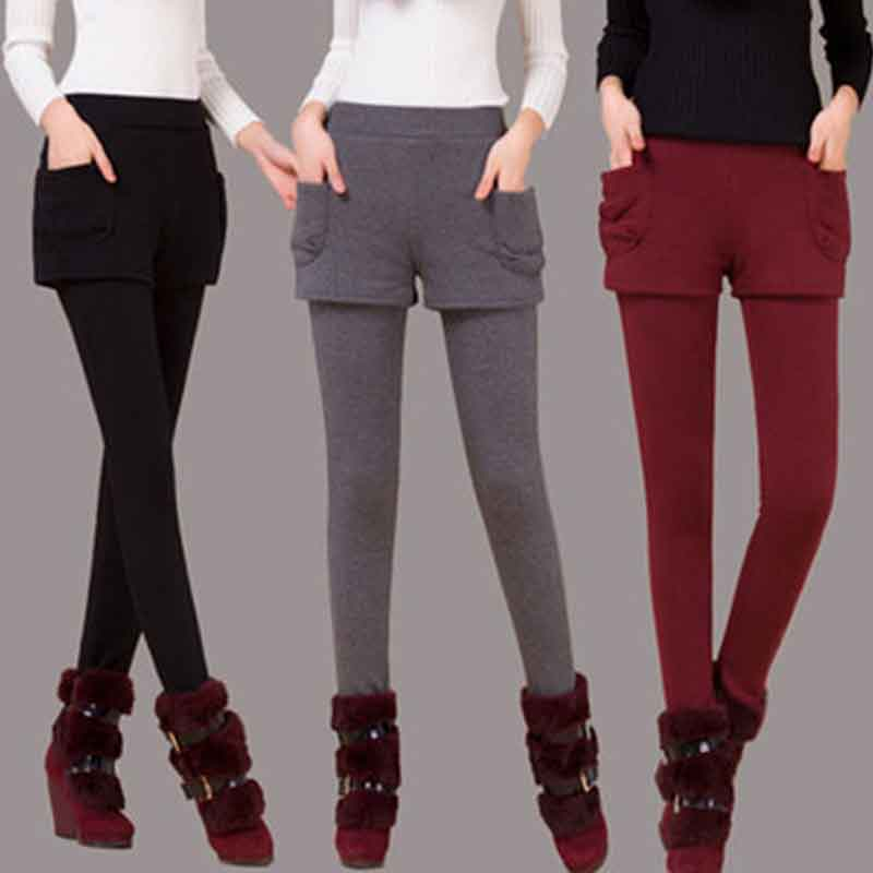 Fashion Winter Warm Leggings Women's Pants Fake Two Pieces Plus Velvet Solid Color Mid Waist Skinny Slim Leggings