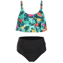 Dinosaur Print High Waist Bikini Set Summer Women Swimsuits 2pcs Women Beach Swimwear Plus Size 3xl Ruched Casual Tankini(China)
