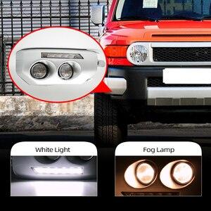 Image 2 - 1ペア車のled drl昼間ランニングライトトヨタfjクルーザー2007 2008 2009 2010 2011 2012 2013 2014フォグランプフレームフォグライト
