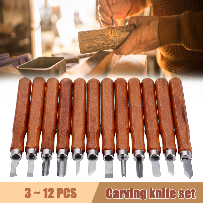 12pcs Wood Carving Chisel Knife For Professional Wood Cut DIY Detailed Woodworking Art Craft Nicking Cutter Gouges Hand Tools