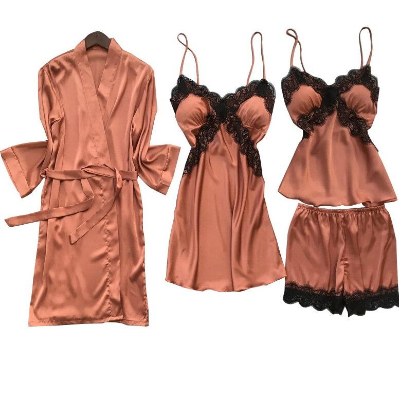 Satin Sexy Bride Bridesmaid Wedding Robe Set 4PCS Sleep Suit Nightwear Intimate Lingerie Lace Summer New Homewear Sleepwear
