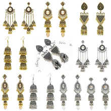 Ethnic Womens Color Jhumka Indian Earrings Vintage Rhinestone Exaggerated Lantern Tassel Palace Earring Jewelry