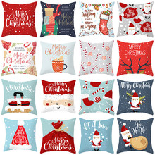 2020 Christmas Cushion Cover Cotton Sofa Pillow Case Cartoon Xmas Decoration For Home Pillowcase Navidad Decor Party Supplies