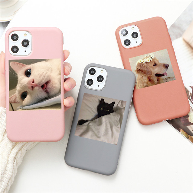 Cute Cat Dog Animals Case For iPhone 7 8 6 6s Plus 5 5S SE 2020 Candy Color Soft Cover For iPhone 12 11 Pro XS Max XR X TPU Case 1