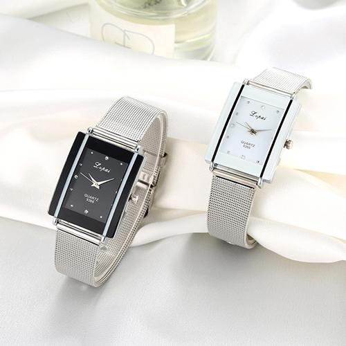 Top Brand Luxury Women Watch Fashion Rectangle Dial Stainless Steel Net Strap Quartz Ladies Wrist Watches Relojes Para Mujer