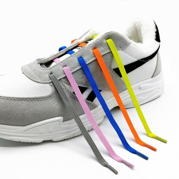New Shoelace for Lazy People Elastic Free-Tie All-match Metal Capsule Flat Shoelace Children's round Elastic image
