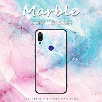 For Xiaomi Redmi Note 9s 9 Case For Xiaomi Redmi Note 8 Pro 8T Marble Tempered Glass Soft TPU Cover Cases For Redmi Note 5 6 7 8