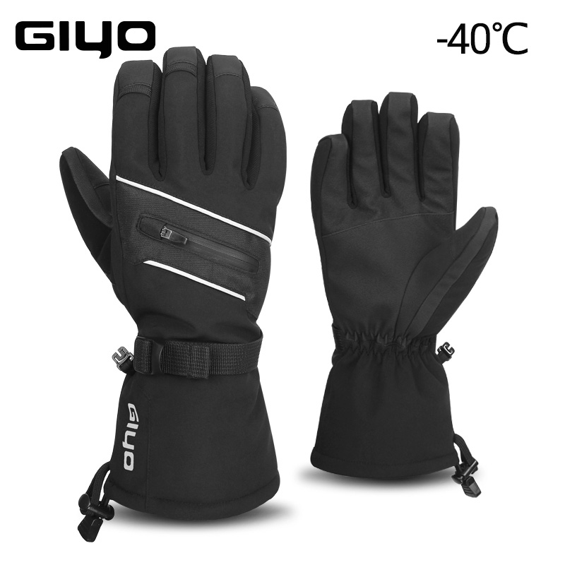 GIYO -40℃ Ski Gloves For Men Winter Skiing Fleece Thermal Gloves Waterproof Snowboard Gloves Touch Screen Warm Snow Mittens