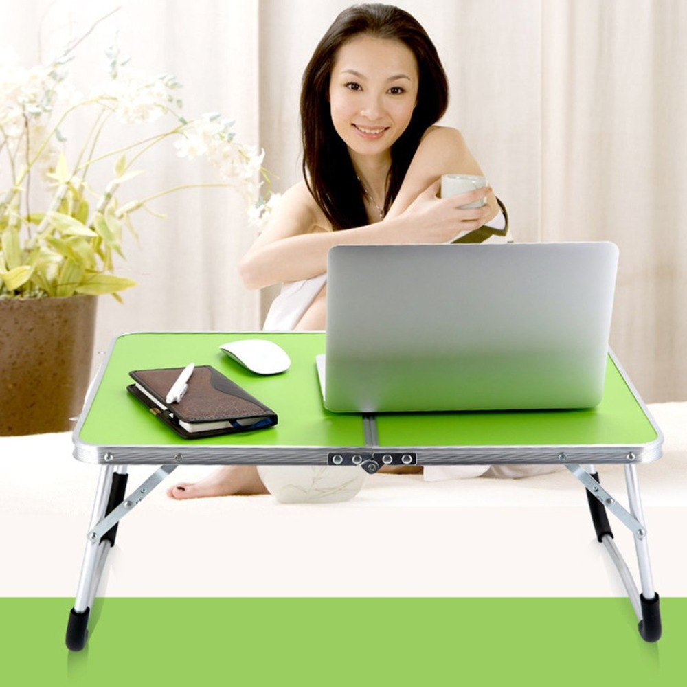 Steel Laptop Double-Folding Computer Table Durable Metal Computer Desk PC Laptop Table Writing Workstation Home Office Furniture