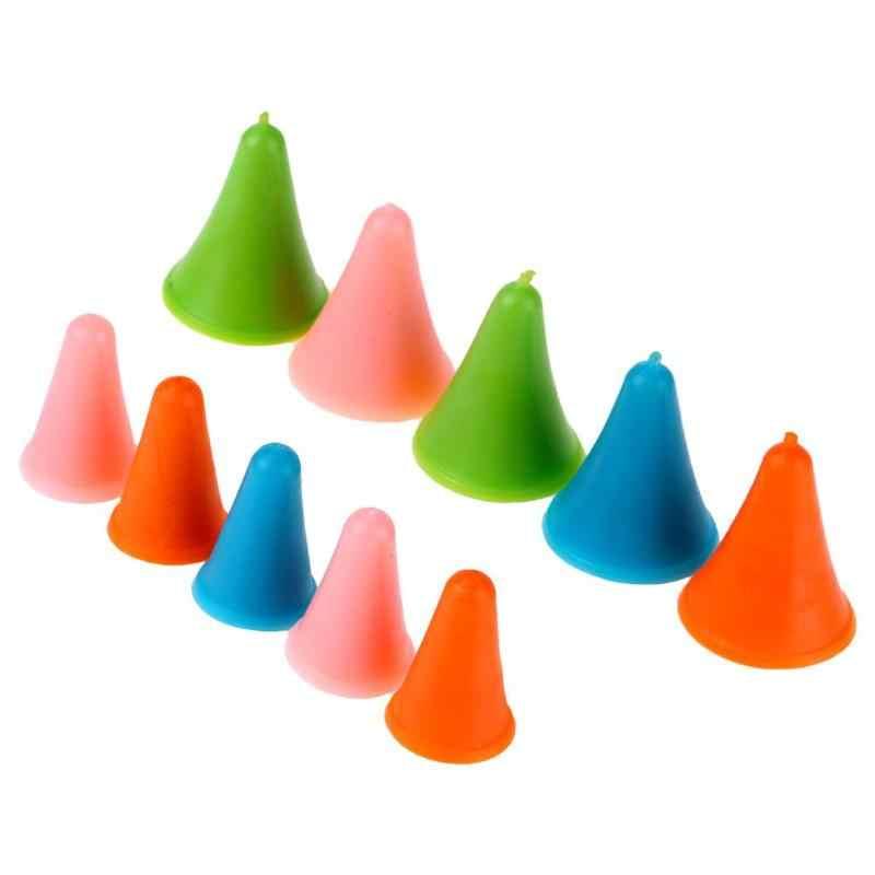10pcs Protetores de Borracha Forma de Cone Cap Ponto Agulhas de Tricô em 2 Tamanhos de Borracha Macia, forte Capacidade de Adaptação Do Furo Interno Cônico