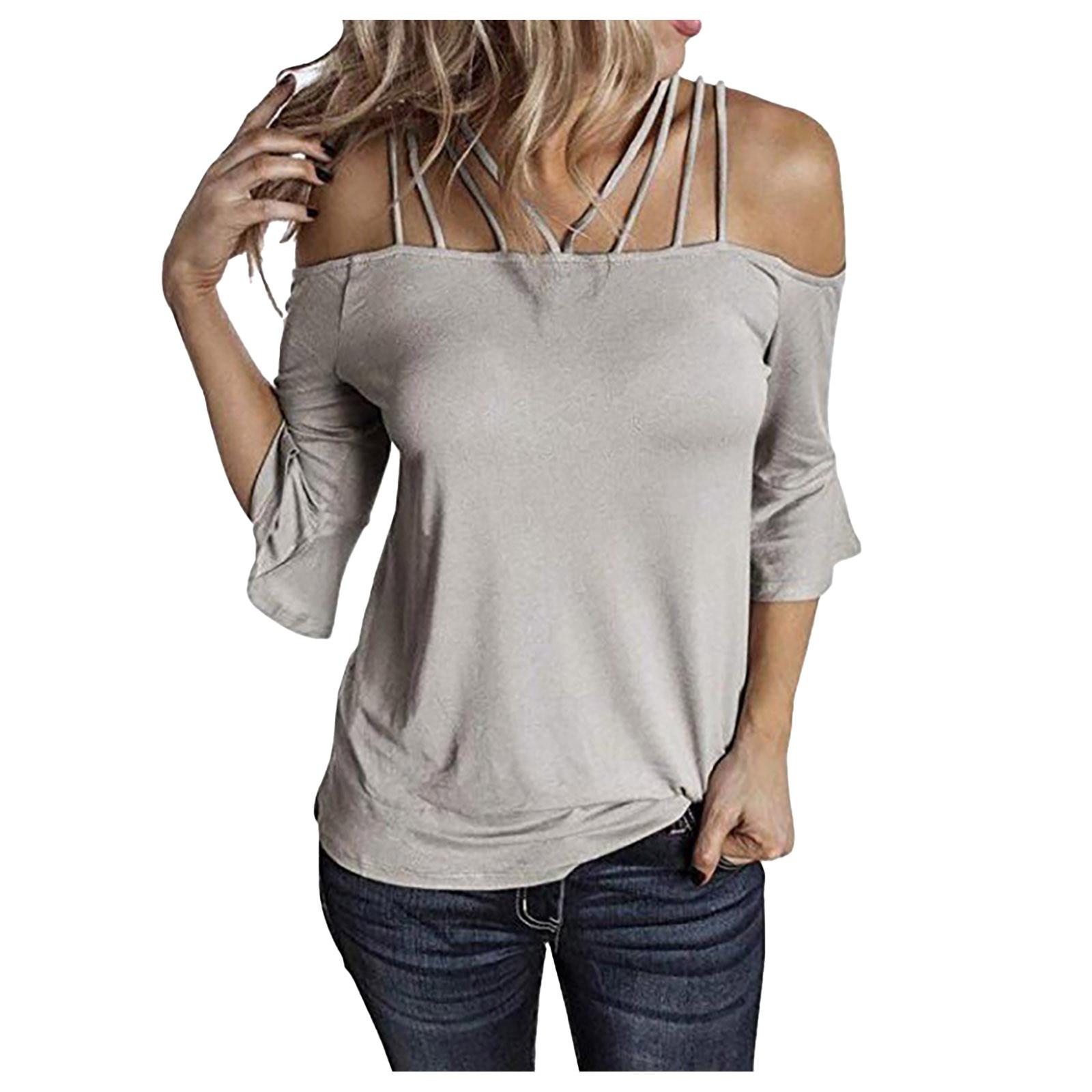 T-shirt manches évasées pour femme, haut à épaules dénudées, couleur unie, streetwear, à la mode, grande taille, cool, été