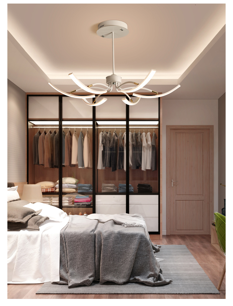 Hb5e57aff98ba4b7f9c937ad8f2b0eb9fu MDWELL Matte Black/White Finished Modern Led Ceiling Lights for living room bedroom study room Adjustable New Led Ceiling Lamp