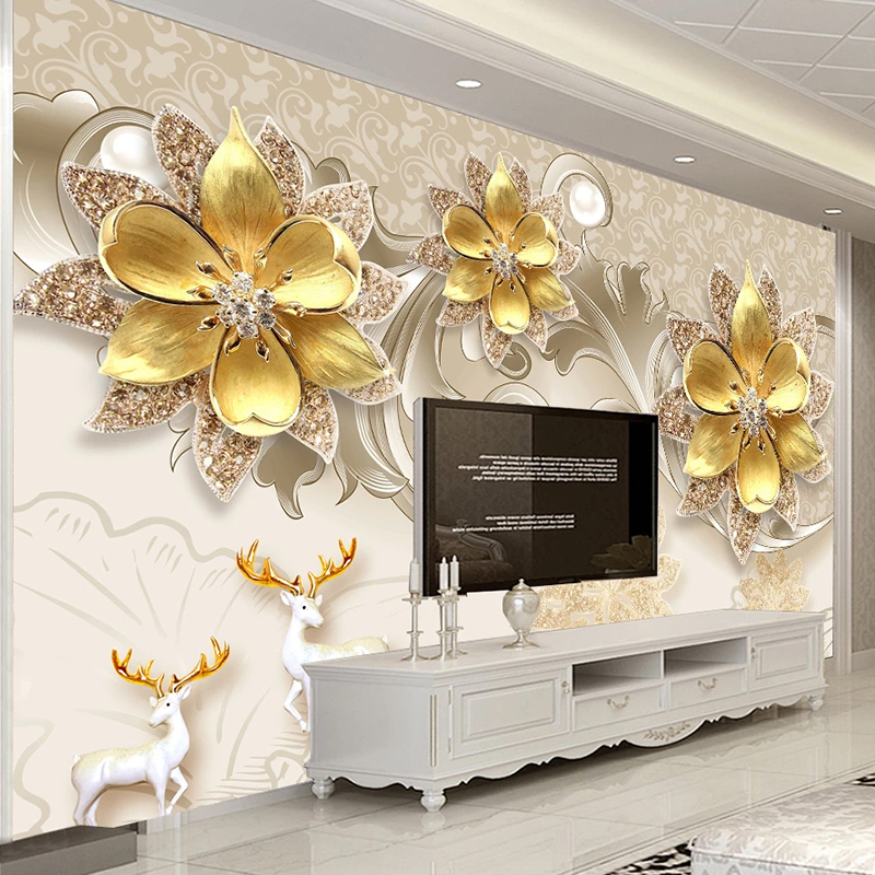 Custom 3D Wallpaper European Style 3D Jewelry Flowers Wall Painting Living Room TV Background Photo Mural Wall Papers Home Decor