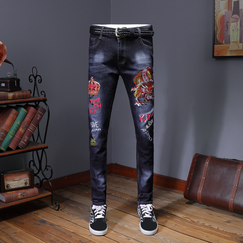 Erkek Jean Pantolon Men's Vintage Embroidery Jeans Fashion Slim Straight Denim Pants Denim Jeans Men Vaqueros Hombre Skinny