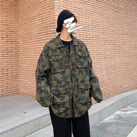 2019 Autumn New Japanese Korean Trend Men's Long sleeved Camouflage BF Wash Craft Couple Casual Jacket
