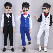 Dollplus Children Wedding Suit for Boys Vest + Pants 2 Pieces Formal Suit Boys Spring Summer England Style Kids Blazer Suits(China)