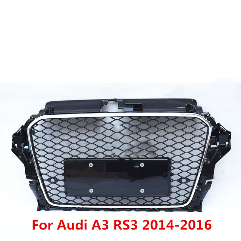 For <font><b>Audi</b></font> A3 <font><b>S3</b></font> RS3 2014 2015 2016 Front Sport Hex Mesh Hood <font><b>Grill</b></font> Gloss ABS Plastic Upgraded Modified <font><b>Grill</b></font> Mesh For RS3 Style image