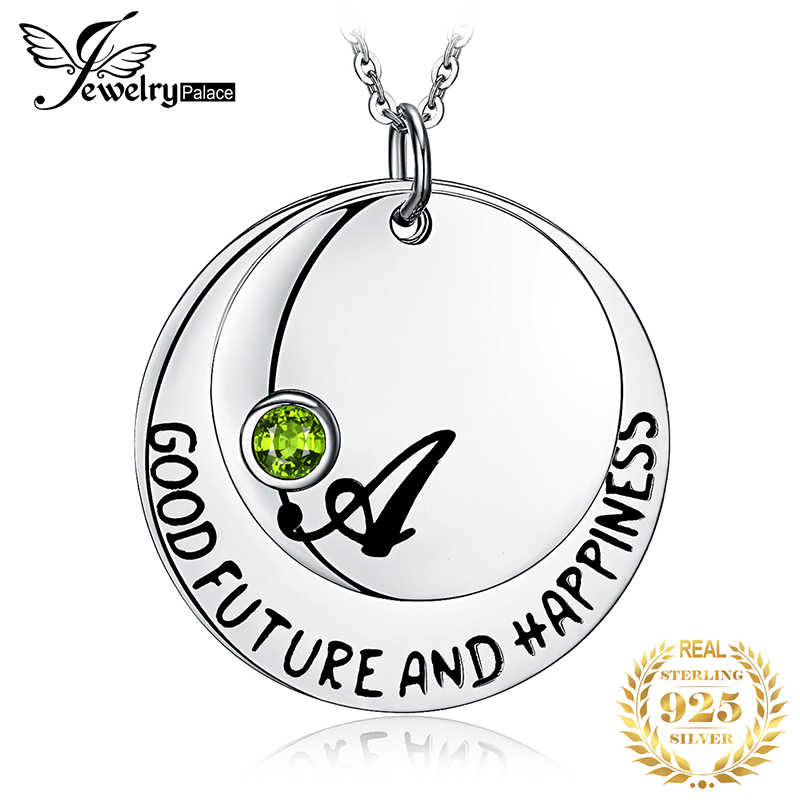 JewelryPalace Personalized Good Future Happiness Birthstone Natural Peridot Pendant 925 Sterling Silver Not Include A Chain