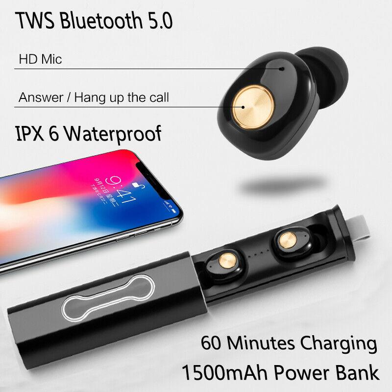 Bluetooth 5.0 Headset TWS Pocket Portable Wireless Earphones Mini Earbuds Stereo Headphones With HD Mic