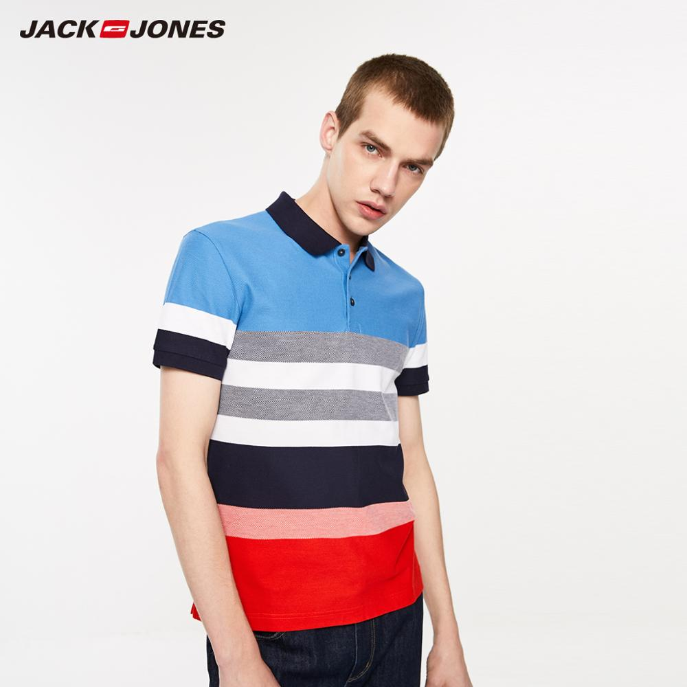 JackJones Men's 100% Cotton Striped Turn-down Collar Short-sleeved T-shirt Style| 219206515