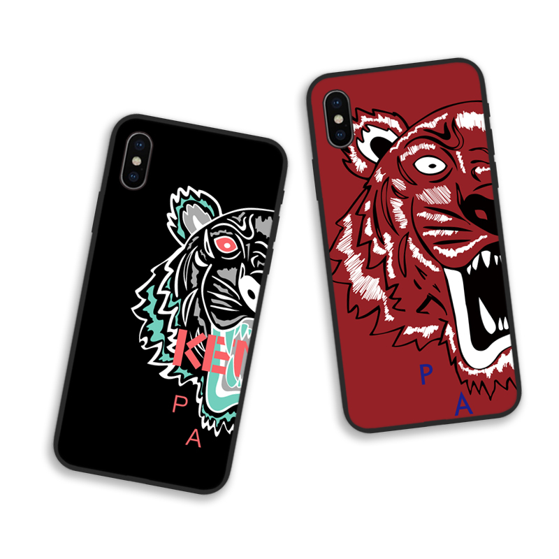 Kenzoe Cool Tiger Head Couple Patterned Phone Case For Iphone 6 6S Plus 7 7plus 8 8plus X XS Max XR 5 5S SE Leisure Phone Cover