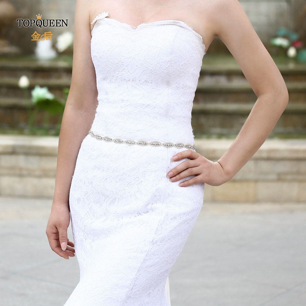 TOPQUEEN S102 Bridal Belts Rhinestone Sash Girls Diamond Stockers Madrinha Rose Dress Belt Rhinestone Applique Belts  Beads Belt