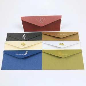 Envelopes Stationery Cardboard Kraft-Paper Wedding-Letter-Set Vintage Window Gold-Color