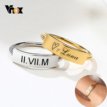 Vnox 5mm Customized Signet Ring for Women Minimalist Metal Stainless Steel Finger Band Elegant Chic Party Jewelry Unique Gift