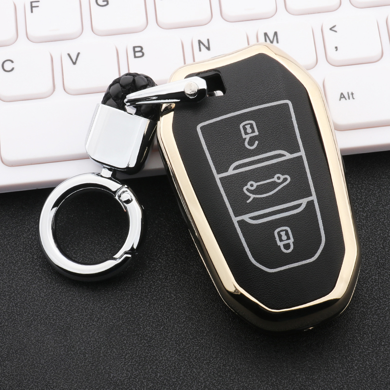 Zinc alloy+Luminous Leather Car <font><b>Key</b></font> <font><b>Cover</b></font> Case For <font><b>Peugeot</b></font> Citroen 301 308 308S 408 2008 3008 4008 508 <font><b>5008</b></font> C4 DS 4S 5LS C5 C3 image
