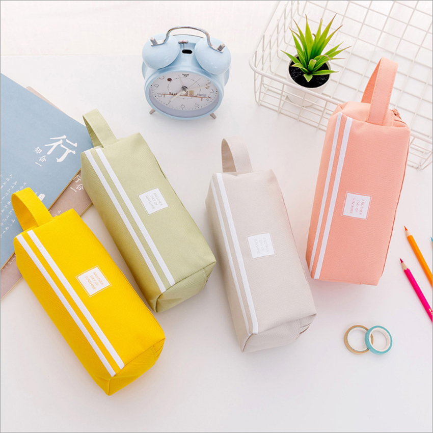 Multi-functional Pencil Case Window Pencil Bag Candy Color Stationery Cloth Pen Case Lovely Stationary Storage Bag With Handle
