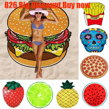 Polyeater Donut Pizza Pineapple Large Round Beach Towel Circle Tassels Watermelon Hamburger Fiber Towel150x150cm Dropship x